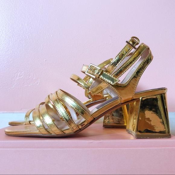 f01ec28bc Zara Shoes | Gold Mirror Strappy Block Heel Sandals | Poshmark